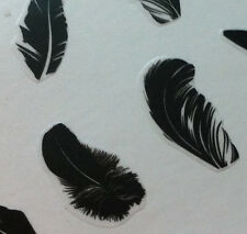 Nail Art 3D Sticker Fashion Black Feather Smooth 16pcs per sheet Halloween