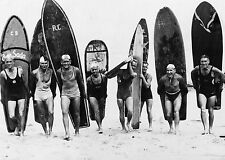 "CANVAS 28"" old black white surf surfing retro photo print large 1950's"