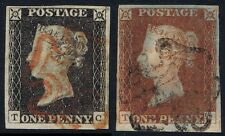 1840 1d Black Pl 2 TC 4m Superb STATE ONE matched Fine 4m STATE TWO Red Cat £675