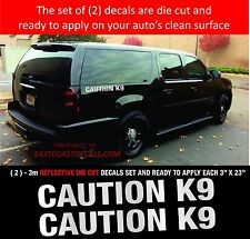"""CAUTION K9  REFLECTIVE - POLICE EMERGENCY 911 REFLECTIVE (2) WHITE """"3M"""" DECALS"""