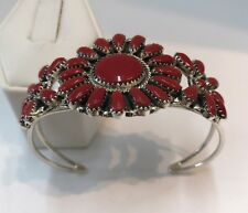 Native American Sterling Silver Handmade Coral Cluster Cuff Bracelet