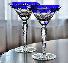 2 Faberge Grand Palais Cobalt Blue Cased Crystal Martini Cocktail New Signed
