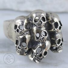 Sterling Silver | Gothic Stacked Skulls BIKER 12.5g | Ring (10.5) Mens EU6023