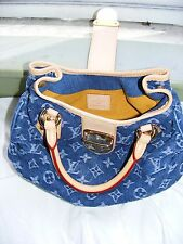 Auth Louis Vuitton Monogram Denim Pleaty Handbag Blue  ToteBag