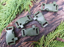 "5 X 13MM 1/2"" ARMY GREEN CURVED QUICK RELEASE PARACORD BUCKLES WITH WHISTLE"