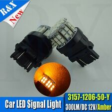 2pcs 3156 3157 T25 50-SMD 1206 Amber LED Bulbs For Front Turn Signal Light 3457
