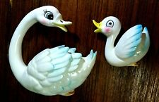 Vtg Enesco Norco SWAN MOTHER & BABY Wall Plaques go with Mermaid Fish Decor MOM