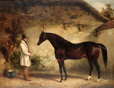 """Beautiful Oil painting Gentleman with his Maroon horse In the stables canvas 36"""""""