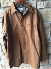 Carhartt Canvas Men's Large Flannel Lined Button Up Jacket Shirt Camel Brown