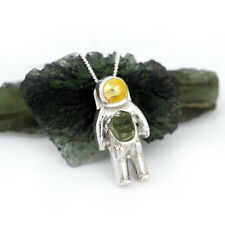 Sterling Silver Moldavite Astronaut Space Pendant - NASA/Apollo