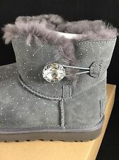 UGG CONSTELLATION Short Mini Gray Crystal Bailey Button Bling Women's Boots 6