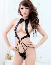 Female Sexy Punk Body Harness Teddy with Riveted Leather Straps Mistress Costume