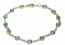 Evil Eye Anklet Foot Chain 18K Gold Plated  Ankle Charms Bracelet 9.5  Tobillera