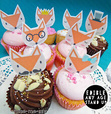 8 foxes Edible Pop Top Cupcake Toppers  | Cake Toppers | Birthday decorations
