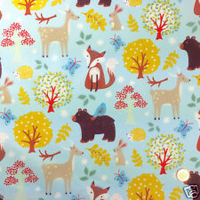 "per 1/2 metre Woodland themed cotton fabric foxes deer blue background 54"" wide"