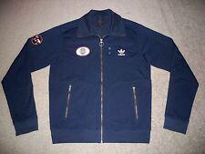 Mens ADIDAS World-Wide Track Jacket XL BLUE w/Vintage Adidas Logo & Patch EUC