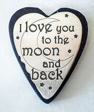 "USA-Made Blue Sandstone/Pewter Heart Paperweight w/ ""I Love You to the Moon ..."""