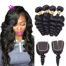 300g peruvian loose wave virgin human hair 16,18,20 with closure 14inches uk
