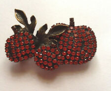 Vintage  Thanksgiving Fall Pumpkin Leaves Rhinestone Pin/Brooch