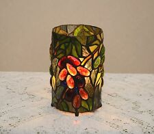 Stained Glass Tiffany Style Round Desktop Grape Vine Night Light Table Lamp.