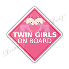 Baby on Board Twins Full Color Adhesive Vinyl Sticker Decal 028 Free Shipping