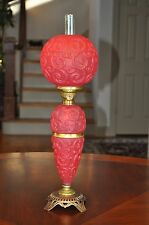 Consolidated GWTW Junior 3-Tier Red Satin Glass Paisley Oil Lamp Miniature