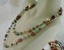"VINTAGE GOLD TONE,AMBER TURQUOISE,CARNELIAN LOOK ALIKE NECKLACE 49"" LONG"