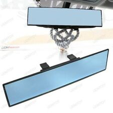 JDM Blue Glass 300mm Wide Flat Clip On Rear View Mirror w/Anti-Glare Blue Tint