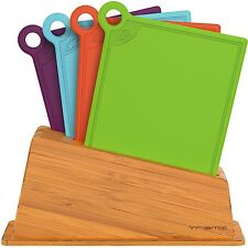 New Plastic Cutting Board Set 4 Colorful Chopping Boards with Bamboo Holder