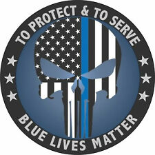 "Punisher Police Blue Lives Matter American Flag 4"" Decal Bumper Sticker"
