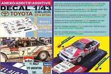 ANEXO DECAL 1/43 TOYOTA CELICA GT4 M.ERICSSON R.ARGENTINA 1991 6th (05)