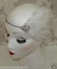 White Diamante Feather Head Piece Great Gatsby Bridal 1920s Vintage Headband h85