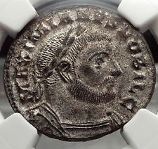 GALERIUS 303AD Silvered Follis GENIUS Authentic Ancient Roman NGC MS Coin i58209
