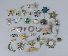 Vintage Lot of Gold Silver Enameled Rhinestone Brooch Pin Monet Avon BSK DFA