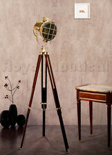 Nautical Designer Wooden Spotlight Floor Lighting Lamp Wooden Tripod Stand