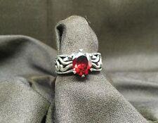 "Silpada ""Villa"" Red Cubic Zirconia Sterling Silver Filigree Ring Size 8"