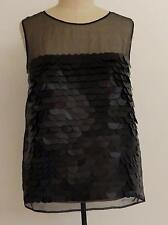 Stella McCartney Runway Giant Sequin Paillette Black Silk Chiffon Top Sz 42 (6-8