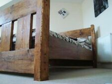HandMade Chunky Rustic Reclaimed Wood Plank King SIze Bed Frame Light Oak Finish