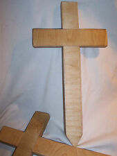 WOODEN handmade Birch CROSS Cemetery Memorial Grave Marker Ground (Light) (#864)