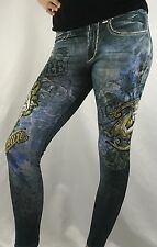 Bejeweled Leggings Jeggings Susan Fixel Angel Lion Rhinestones 007M Size M