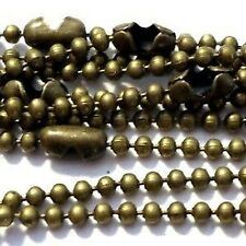 10 Bronze Plated 1.5mm ball Chain Necklaces - 18 inch lenght - A5484