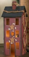 BURGUNDY WOODEN SALTBOX HOUSE ELECTRIC LIGHTED PRIMITIVE HOME DECOR