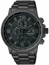 Citizen Mens Chrono Eco-Drive Nighthawk Black Ion Plated Stainless St CA0295-58E