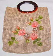 Vintage Woven Burlap Purse Handbag Bag Fuzzy Flowers Lucite Handle Tan Pink 40s