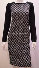FUNKY ALL OVER STAR PRINT MONOCHROME MIDI  FITTED DRESS BLACK SIZE L/XL 10/12