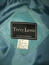 Turquoise Blue Leather Jacket Terry Lewis Classic Luxuries Sz M