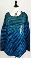 New Earth Yoga Womens Long Sleeve Stretch Top Tunic Tie Dye Blue Green Size XXL