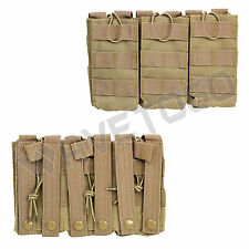 VISM NcSTAR Tactical MOLLE PAL Triple 5.56 223 Magazine Mag Pouch Pull Tab Tan