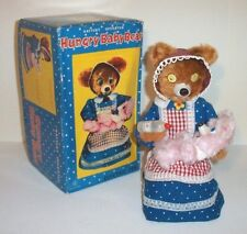 MIB 1950's BATTERY OPERATED HUNGRY BABY BEAR TIN LITHO TOY with WINKY EYES MINT