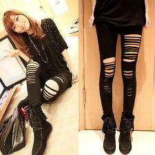 Women Lady Punk Hole Ripped Slit Split Leggings Party Gothic Pants GH
